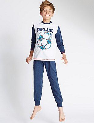 Pure Cotton England Pyjamas (3-16 Years), WHITE MIX, catlanding