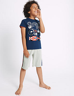 Round Neck Short Pyjamas (3-16 Years), NAVY MIX, catlanding