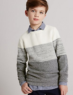 Pure Cotton Jumper (3-14 Years), NAVY MIX, catlanding