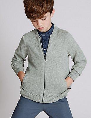 Pullover mit hohem Baumwollanteil und durchgehendem Reißverschluss (3–14 Jahre), GRAU, catlanding