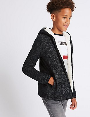 Hooded Neck Zip Through Jumpers (3-14 Years), GREY, catlanding