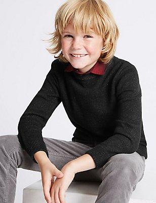 Cotton Rich Mock Shirt Knitted Jumper (3-14 Years), BLACK, catlanding