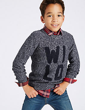 Pure Cotton Knitted Jumper (3-14 Years), GREY MIX, catlanding