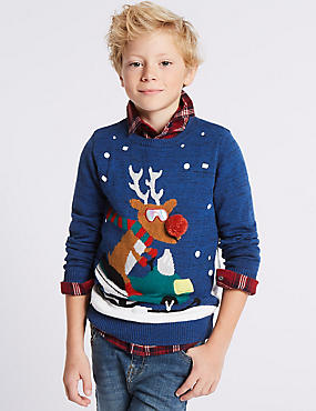 Cotton Rich Snowman Reindeer Jumper (3-14 Years), MULTI, catlanding