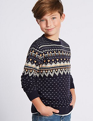 Fairisle Knitted Jumper (3-14 Years), INDIGO, catlanding