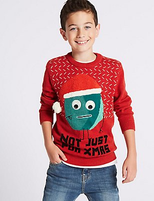 Pure Cotton Christmas Jumper (3-14 Years), MULTI, catlanding