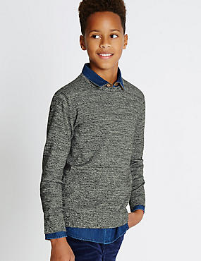 Pure Cotton Crew Neck Jumper (5-14 Years), GREY, catlanding