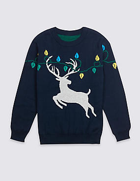 Pure Cotton Christmas Jumper (3 Months - 14 Years), MULTI, catlanding