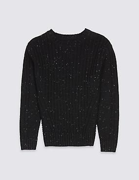 Long Sleeve Knitted Jumper (3-14 Years), BLACK, catlanding