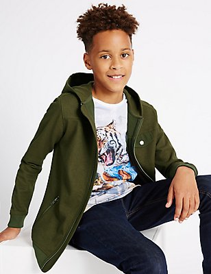 Textured Hooded Top (3-16 Years), KHAKI, catlanding