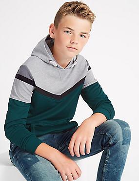 Cotton Rich Colour Block Hooded Sweatshirt (3-14 Years), MULTI, catlanding