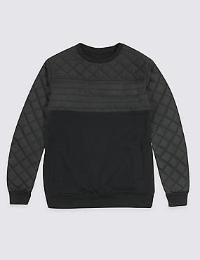 Quilted Detail Sweatshirt (3-14 Years), BLACK MIX, catlanding
