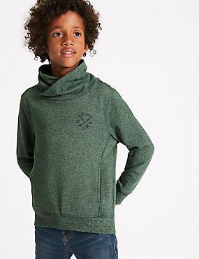 Cotton Rich Cowl Neck Sweatshirt (3-14 Years), TAN, catlanding