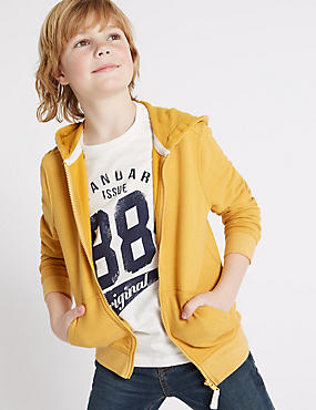 Cotton Rich Long Sleeve Hooded Top (3-14 Years), YELLOW, catlanding