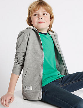 Cotton Rich Hooded Top (3-14 Years), GREY MARL, catlanding