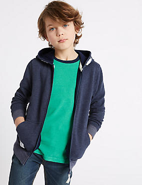Cotton Rich Hooded Top (3-14 Years), NAVY, catlanding