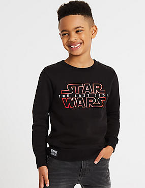 Cotton Rich Star Wars™ Sweatshirt (3-14 Years), MID GREY MARL, catlanding