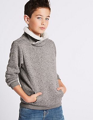 Cowl Neck Sweatshirt (3-14 Years), GREY, catlanding