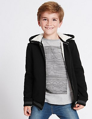 Cotton Rich Hooded Neck Sweatshirt (3-14 Years), BLACK, catlanding