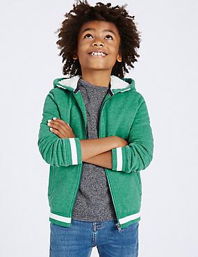 Cotton Rich Zip Through Sweatshirt (3-14 Years), SEA GREEN, catlanding
