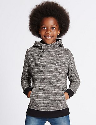 Hooded Texture Sweatshirt (3-14 Years), BLACK, catlanding
