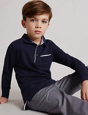 Pure Cotton Polo Shirt (3-14 Years), NAVY, catlanding