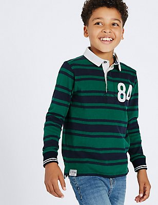 Pure Cotton Striped Rugby Top (3-14 Years), SEA GREEN, catlanding