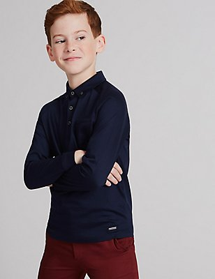 Pure Cotton Polo Shirt (3-14 Years), BLACK MIX, catlanding