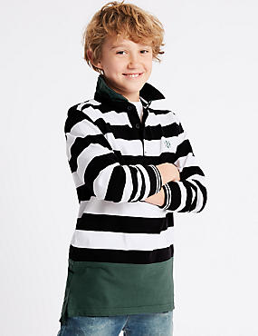Pure Cotton Striped Rugby Top (3-16 Years), MULTI, catlanding