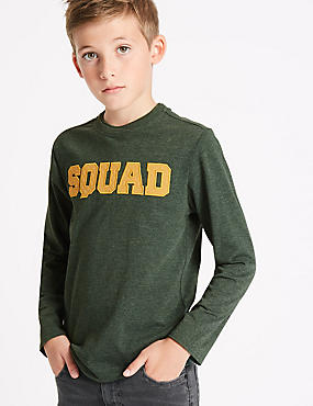 Cotton Rich Long Sleeve Top (3-14 Years), GREY MIX, catlanding