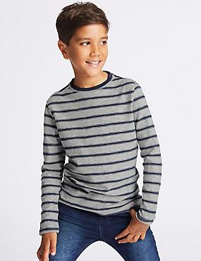 Cotton Rich Striped T-Shirt (3-14 Years), BLUE, catlanding