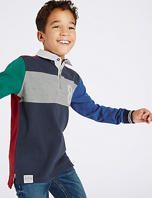 Pure Cotton Colour Block Rugby Top (3-14 Years), MULTI, catlanding