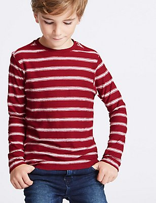 Pure Cotton Striped T-Shirt (3-14 Years), RED, catlanding