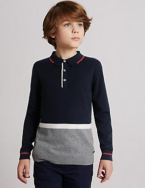 Cotton Blend Polo Shirt (3-14 Years), NAVY MIX, catlanding
