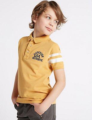 Cotton Rich Polo Shirt (3-14 Years), YELLOW, catlanding