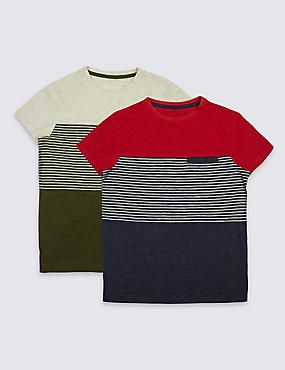 2 Pack Striped Tops (3-14 Years), BLUE MIX, catlanding