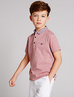 Pure Cotton Short Sleeve Polo Shirt (3-14 Years), RED MIX, catlanding