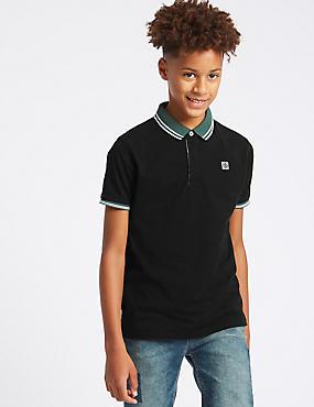 Pure Cotton Polo Shirt (3-16 Years), BLACK, catlanding