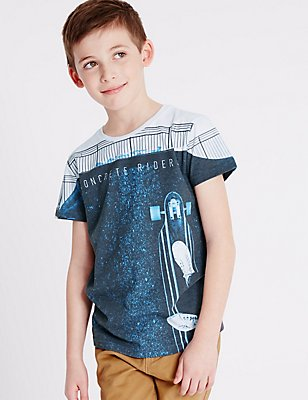 Printed Short Sleeve Top (3-14 Years), NAVY MIX, catlanding