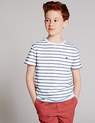Pure Cotton Striped T-Shirt (3-14 Years), WHITE MIX, catlanding