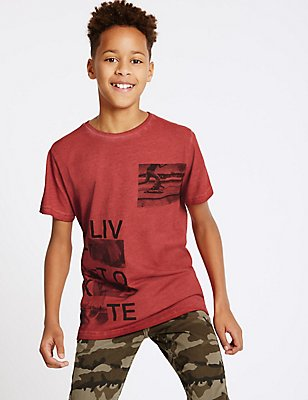 Pure Cotton T-Shirt (3-14 Years), DARK RED, catlanding