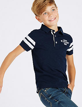 Cotton Rich Short Sleeve Polo Shirt (3-14 Years), DARK NAVY, catlanding