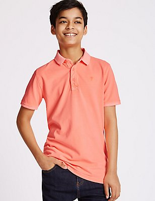 Pure Cotton Polo Shirt (3-14 Years), SOFT CORAL, catlanding