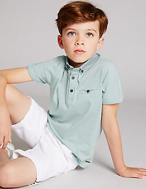 Pure Cotton Short Sleeve Polo Shirt (3-14 Years), MINT MIX, catlanding