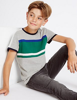 Cotton Rich Panelled Pique Top (3-14 Years), GREY MARL, catlanding
