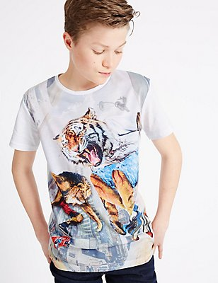 Animal Print Short Sleeve T-Shirt (3-14 Years), SEA GREEN, catlanding