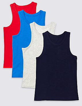 4 Pack Vest Tops (3-14 Years), RED MIX, catlanding