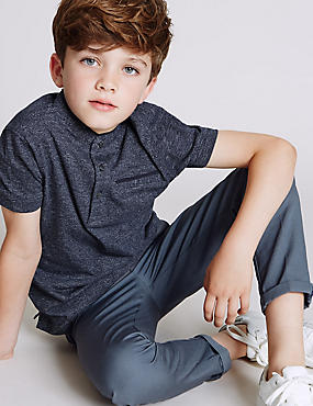 Cotton Rich Short Sleeve Polo Shirt (3-14 Years), NAVY MIX, catlanding