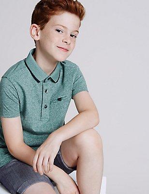Textured Short Sleeve Polo Shirt (3-14 Years), GREEN MIX, catlanding