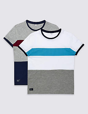 2 Pack Colour Block T-Shirts (3-14 Years), WHITE MIX, catlanding